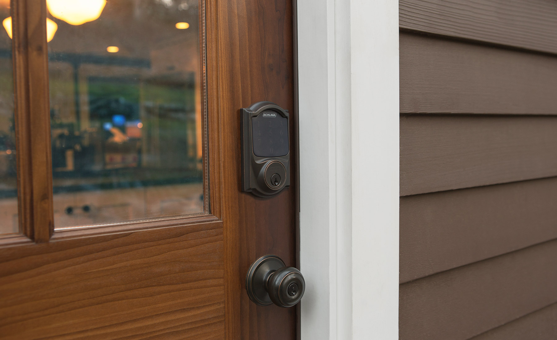 Satin Nickel & Wink | Schlage Connect Camelot Touchscreen Deadbolt
